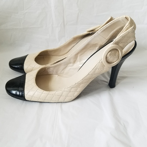 3f191b9cc89 Delman Quilted Patent Sling Back Heels Size 9